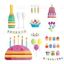 cocktail vector birthday party icons celebration happy birthday surprise