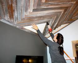 Barn Wood Basement Makemeprettyagain Reclaimed Wood Herringbone Pattern Ceiling