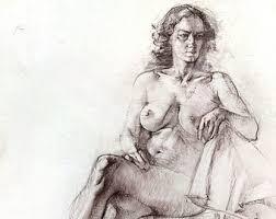 original drawing female model pencil drawing