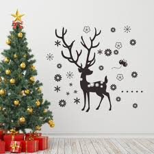 popular large snowflake window decorations buy cheap large large 88 98cm christmas deer snowflake wall decal glass window diy wall stickers homr decor