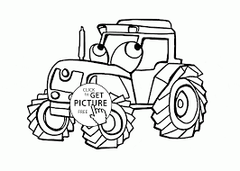 funny tractor coloring page for kids transportation coloring