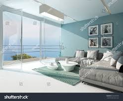 luxury waterfront apartment living room floortoceiling stock