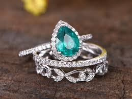 engagement rings set images 3pcs 6x8mm pear shaped lab treated emerald engagement ring set 14k jpg