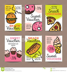 food coupons vector set of discount coupons for fast food and desserts