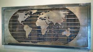 metal world map wall sculpture 3 sizes reclaimed wood steel