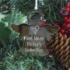 personalized silver angel godmother ornament the catholic company