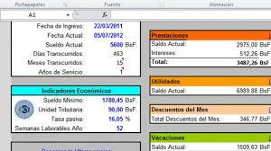 calculo referencial de prestaciones sociales en venezuela calculos salariales lottt 2018 excel youtube