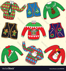 ugly christmas sweaters royalty free vector image