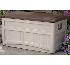 taupe large wheeled deck box and plastic pool accessory storage