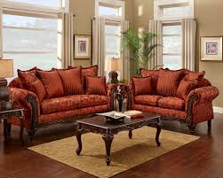 Tv Room Furniture Sets Red Floral Print Sofa And Loveseat Traditional Sofa Set For The