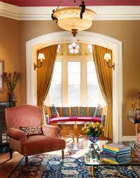 Curtains Inside Window Frame New York Bay Window Curtain Living Room Traditional With Earth