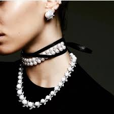 neck collar necklace images Classic pearl rhinestones choker necklace for woman bb191 blacks jpg