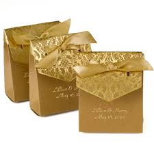 gold satin ribbon personalized gold tent favor box with gold satin ribbon candy cake