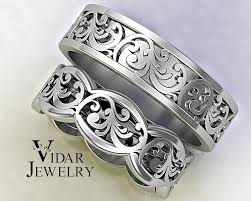 wedding bands design his and hers gold wedding band set unique leaf design vidar