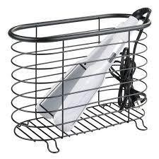 flat iron holder wall mount mdesign hair dryer u0026 flat iron holder for bathroom matte black