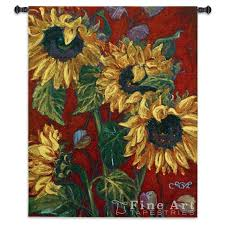 American Flag Tapestry Wall Hanging Sunflowers Ii Floral Still Life Tapestry Wall Hanging Modern