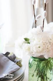 jar floral centerpieces and easy jar centerpieces setting for four