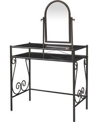 Glass Vanity Table Holiday Special Linon Angelica Glass Top Metal Grey Vanity