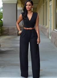 leg jumpsuit v neck sleeveless wide leg jumpsuit with belt oasap com