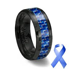 ceramic wedding bands black ceramic blue carbon fiber ring blue wedding band