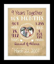 personalized anniversary gift for 9 year anniversary date time