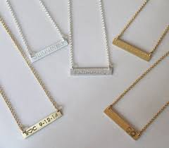 personalized bar necklace gold engraved gold bar necklace kardashians meghan markle be