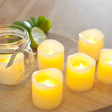 set of 6 votive real wax battery operated led tea light candles by