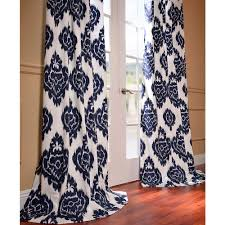 ikat blue printed cotton curtain panel overstock com shopping