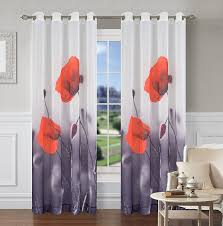 Curtain Panels Poppy Set Of 2 Sheer Art Drapery Curtain Panels U2013 Urbanest