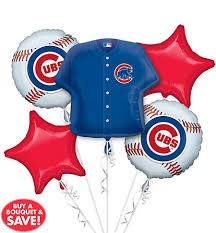 balloon arrangements chicago chicago cubs balloon bouquet 5pc jersey party city