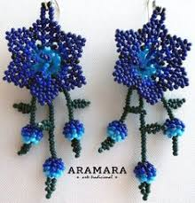 Native American Beaded Earrings Huichol Blue Flower Huichol Earrings Huichol Jewelry Native American