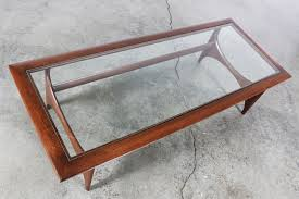 mid century sculptural coffee table w glass top by lane vintage