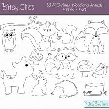 woodland animals outline digital art clipart commercial