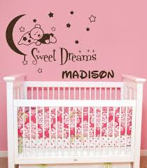 wall decals custom personalized name teddy bear moon and stars
