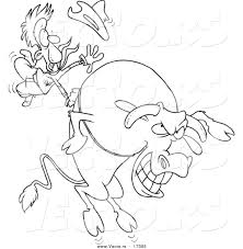 vector of a cartoon cowboy riding a giant bull coloring page
