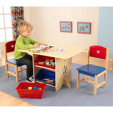 Kids Computer Desk And Chair Set by Classic Playtime Pecan Deluxe Activity Table With Free Paper Roll