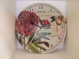 carte postal french shabby chic country style floral wall clock in