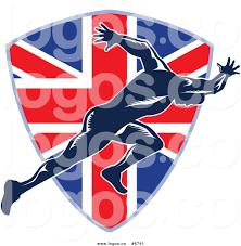 royalty free clip art vector logo of a sprinter over a british