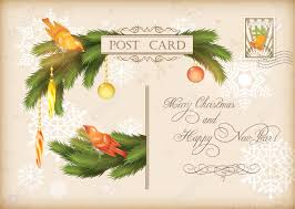 happy new year post card merry christmas and happy new year celebration vintage postcard