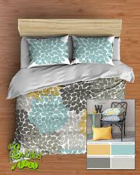 Blue Yellow Comforter Custom Floral Bedding In Comforter Or Duvet Style Features