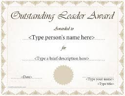 special certificate outstanding leader award certificatestreet