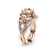 morganite bridal set 14k gold morganite bridal set floral design wedding ring