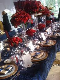 attracktive red and gold centerpieces royal blue wedding ideas