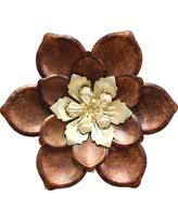 Metal Flower Wall Decor - amazing deal on tolman yellow flower metal scroll wall art bronze