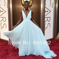 Light Blue Chiffon Dress Sa6595 Deep V Neckline Light Blue Long Chiffon Dress Oscar 2014