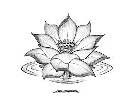 classic grey ink lotus flower tattoo design