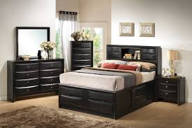 Wooden Beds With Drawers Underneath Black Wood Bed With Storage Drawers Underneath And Rack Headboard