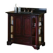 37 inch single sink bathroom vanity with mahogany finish and black