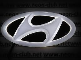 hyundai logo 4d hyundai white neon logo
