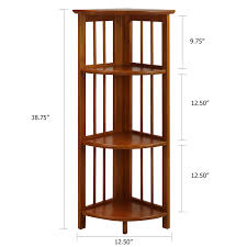 Corner Bookcase With Doors by Amazon Com Casual Home 4 Shelf Corner Bookcase Honey Oak